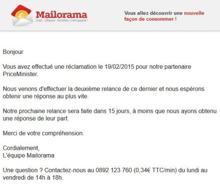 Mail de relance Mailorama PriceMinister